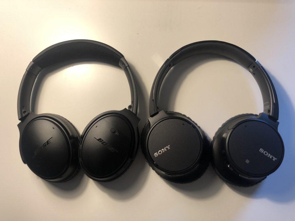 Bose QC 35 II ve Sony WH-CH700N boyutlarının karşılaştırıması